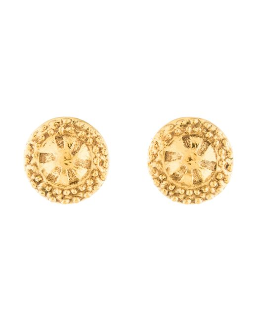 Chanel | Metallic Textured Clip On Earrings Gold | Lyst