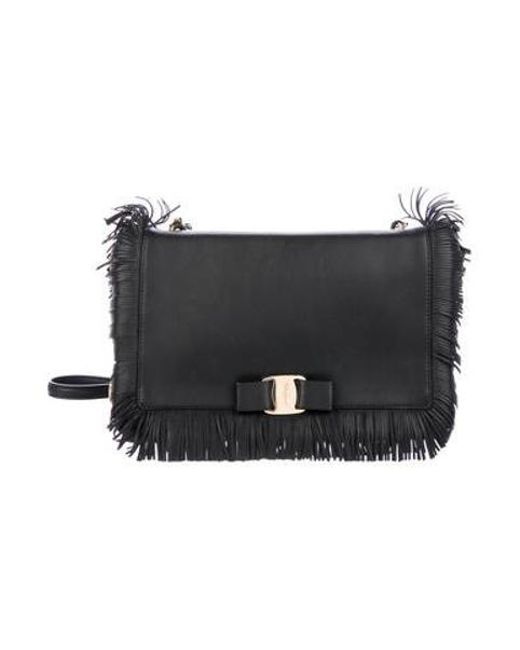 304ffa9e2a Ferragamo - Metallic Leather Ginny Crossbody Bag Black - Lyst ...