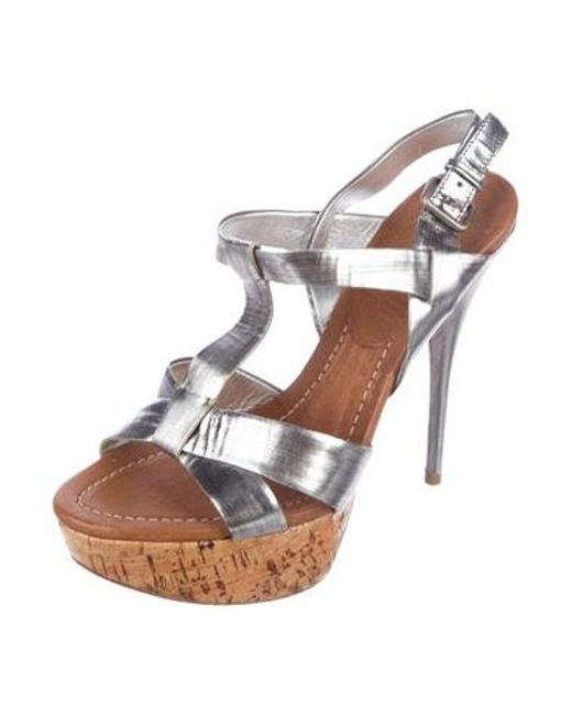 1447fb2efcb ... Miu Miu - Metallic Miu Platform Sandals - Lyst ...