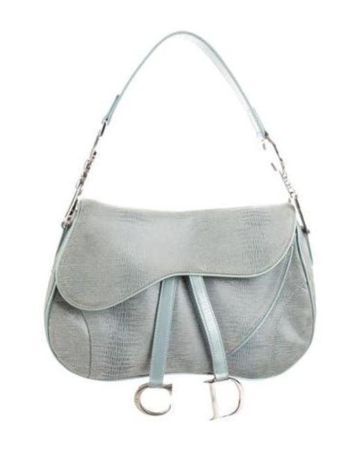 a0c915465c01 Dior - Metallic Textured Saddle Bag Blue - Lyst ...