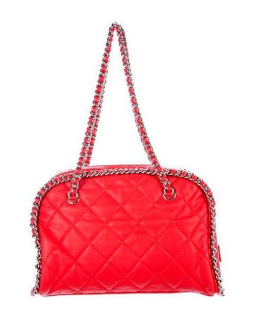 Chanel - Metallic Chain Around Bowler Bag Red - Lyst
