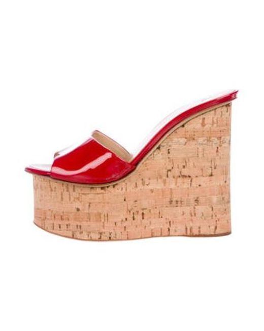 03a420a97074 Giuseppe Zanotti - Red Patent Leather Slide Wedges - Lyst ...