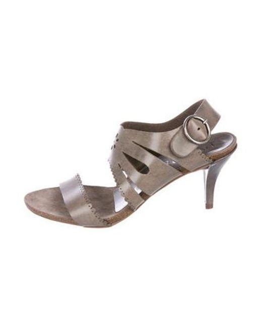 abc3206a3262 Pedro Garcia - Gray Leather Laser Cut Sandals Grey - Lyst ...