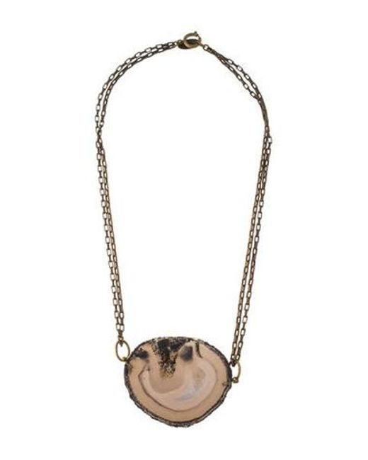 Isabel Marant - Metallic Agate Slice Pendant Necklace Brass - Lyst
