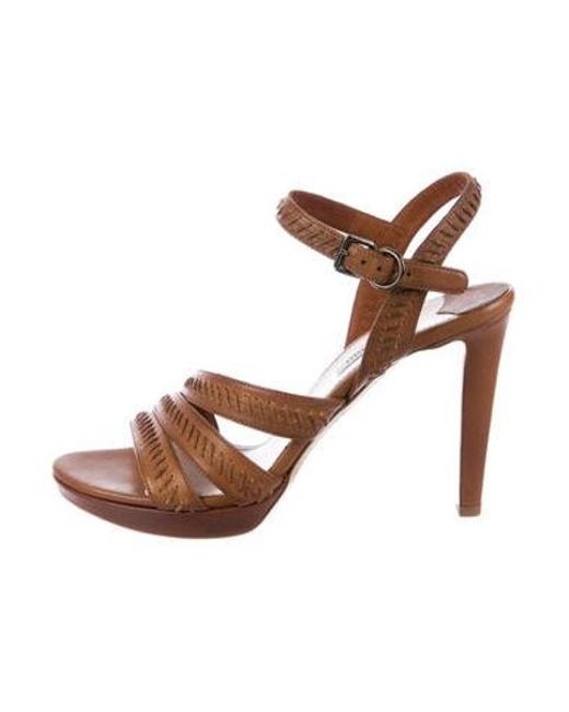 Miu Miu - Brown Miu Leather Whipstitch Sandals Cognac - Lyst