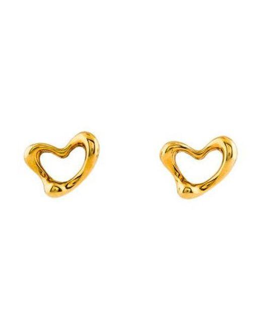 Tiffany & Co - Metallic 18k Open Heart Earrings Yellow - Lyst