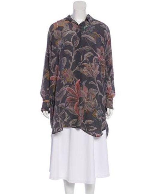 7aced30d Dries Van Noten - Gray Silk Floral Print Button-up Grey - Lyst ...