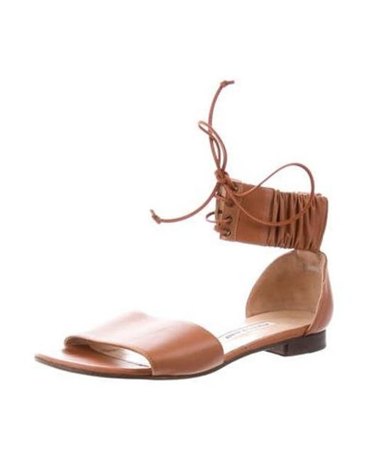 d742e4ed49bf ... Manolo Blahnik - Brown Leather Ankle-strap Sandals - Lyst ...