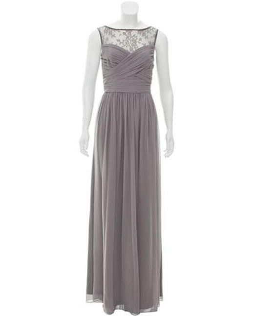 Monique Lhuillier Bridesmaids - Gray Shirred Lace-accented Gown W/ Tags Grey - Lyst