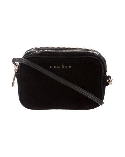8248b5e6a7d3 Sandro - Metallic Suede-accented Mini Crossbody Bag Black - Lyst ...