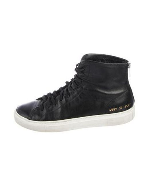 bda1aff99aeca Common Projects - Black Leather High-top Sneakers - Lyst ...