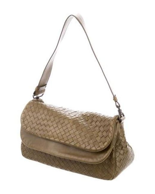 686cd386a7 ... Bottega Veneta - Green Intrecciato Leather Shoulder Bag Olive - Lyst ...