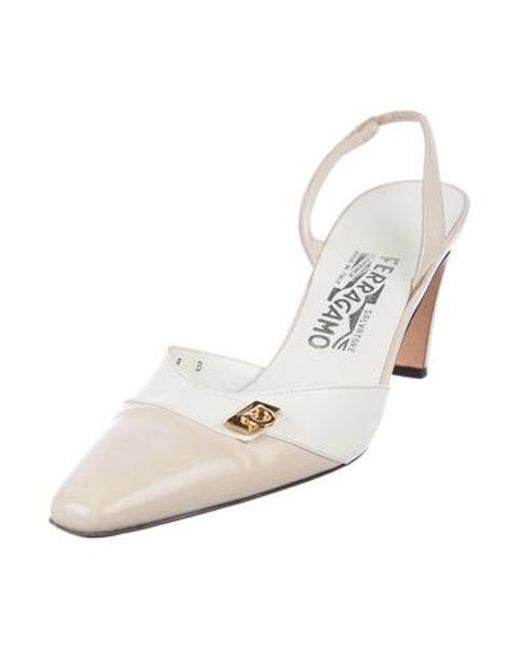 a8d1db6bf2c3 ... Ferragamo - Metallic Leather Slingback Pumps White - Lyst ...
