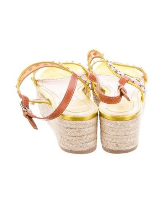 5fc659310ff ... Dior - Metallic Embellished Flatform Sandals - Lyst