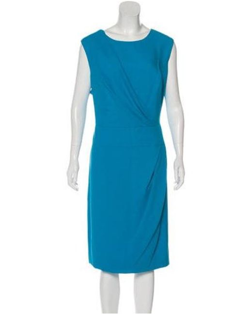 Carolina Herrera Blue Sleeveless Midi Dress Lyst