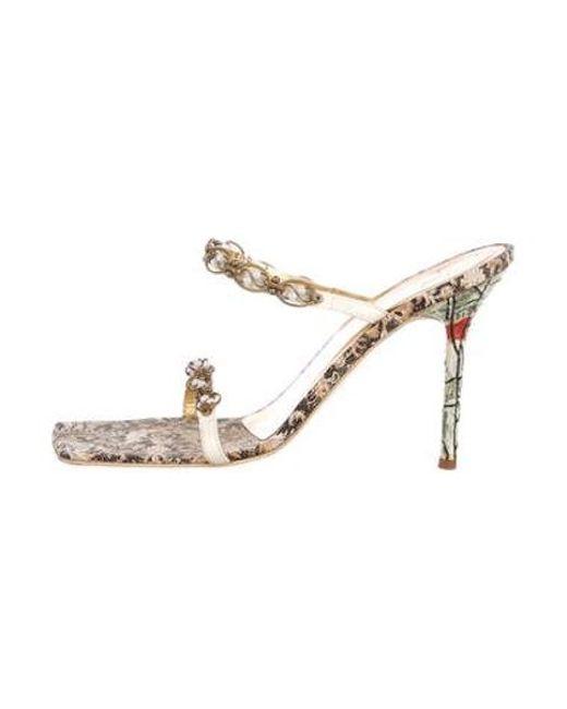 5f72b9f0a561d6 Giuseppe Zanotti - Metallic Embellished Leather Sandals Beige - Lyst ...