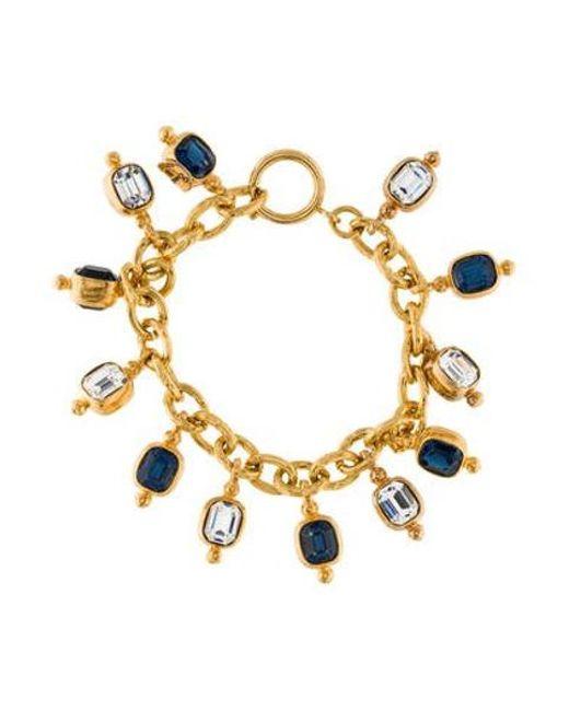 Chanel - Metallic Crystal Charm Bracelet Gold - Lyst