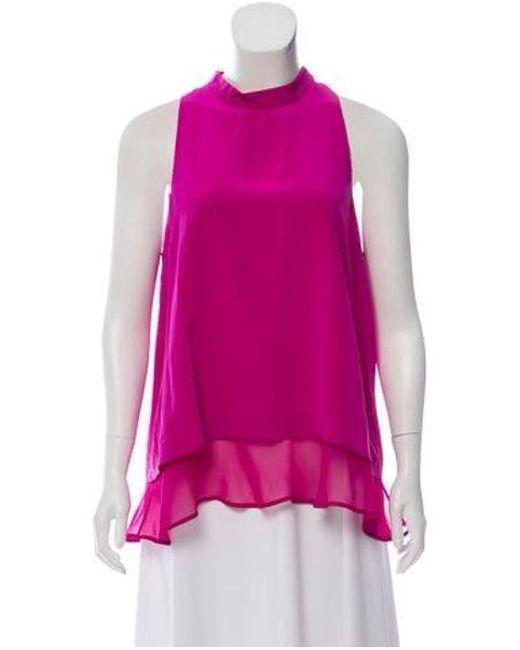 Elizabeth and James - Pink Silk Sleeveless Top Magenta - Lyst