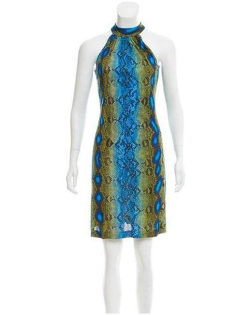 Michael Kors - Green Sleeveless Snake Print Dress Olive - Lyst