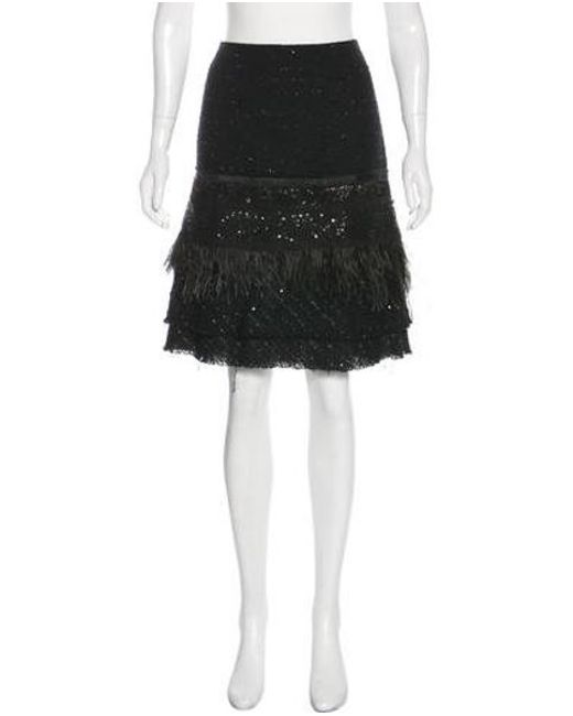 10a7688904 Tuleh - Black Feather-trimmed Knee-length Skirt - Lyst ...