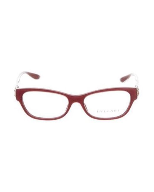 432d90b752d4 BVLGARI - Natural Embellished Rectangular Eyeglasses W  Tags Clear - Lyst  ...