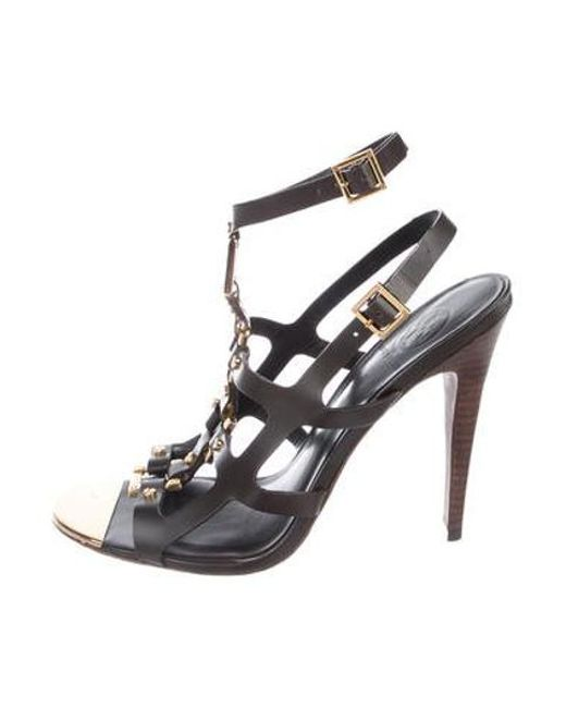034b68621ee4 Tory Burch - Metallic Leather Ankle Strap Sandals Brown - Lyst ...