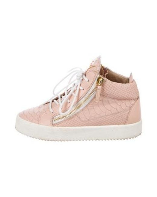 701483bd452df Giuseppe Zanotti - Pink Leather Embossed Sneakers - Lyst ...
