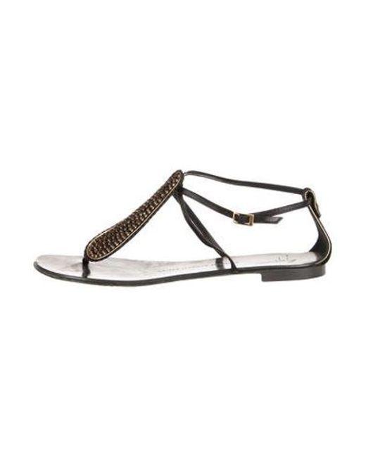 5a3e88bdf71fa5 Giuseppe Zanotti - Metallic Suede Embellished Sandals Black - Lyst ...