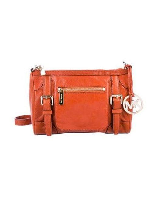 b7a3158f34ca MICHAEL Michael Kors - Metallic Michael Kors Leather Crossbody Bag Orange -  Lyst ...