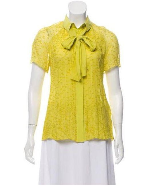 8c721994 Jason Wu - Yellow Silk Button-up Blouse - Lyst ...