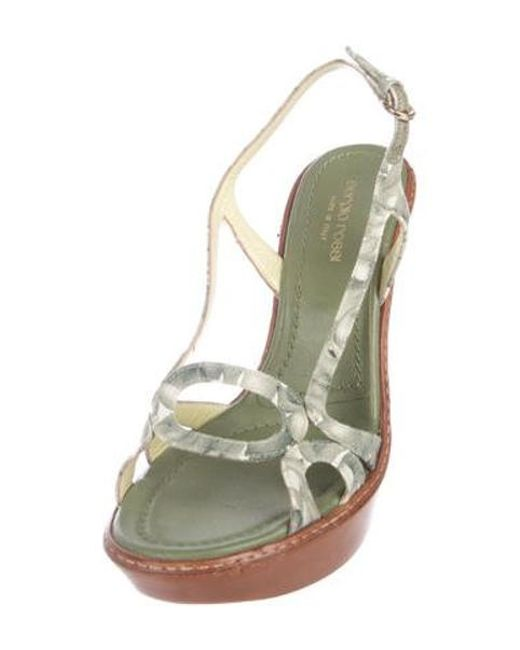 0a276ee7075 ... Sergio Rossi - Green Canvas Wedge Sandals - Lyst ...