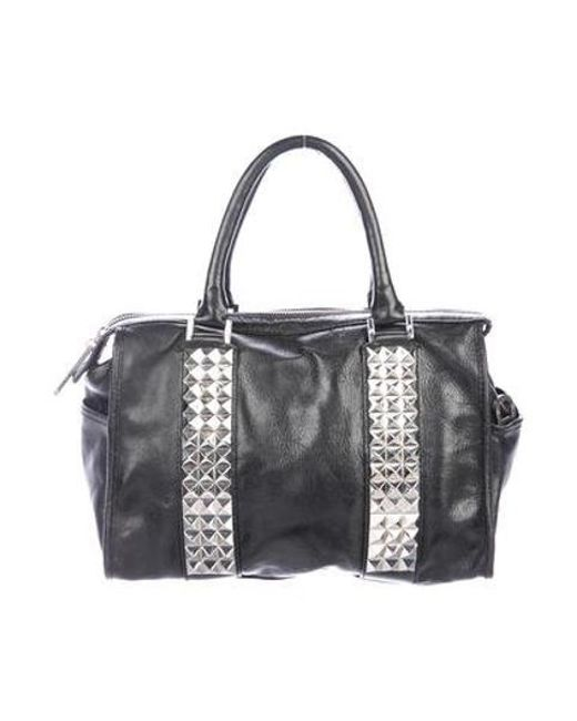b20209dcd38f Tory Burch - Metallic Studded Leather Satchel Black - Lyst ...