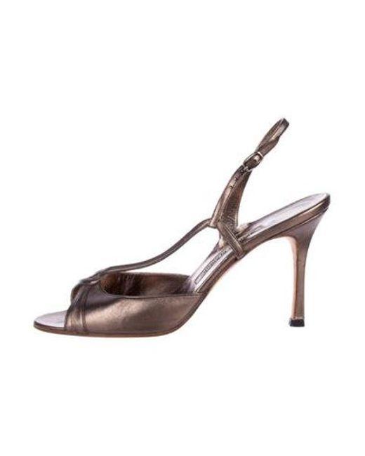 9d9468df63a Manolo Blahnik - Gray Metallic Slingback Sandals Pewter - Lyst ...