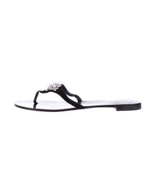 7c1545d703e39 Giuseppe Zanotti - Metallic Suede Thong Sandals Black - Lyst ...