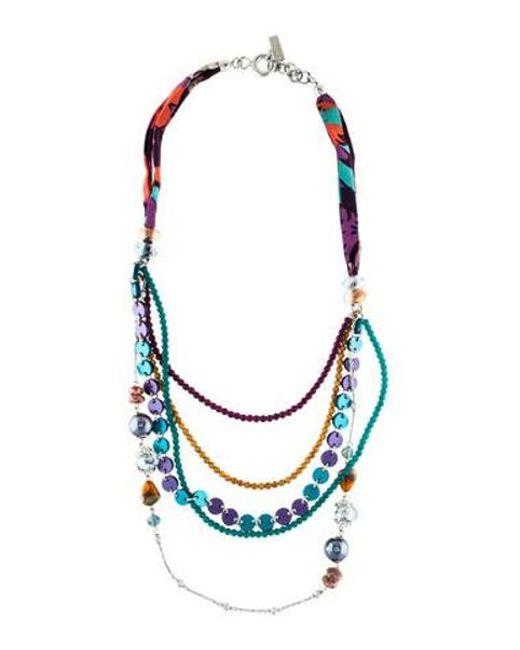 Etro - Metallic Jasper, Resin, & Fabric Multistrand Necklace Silver - Lyst