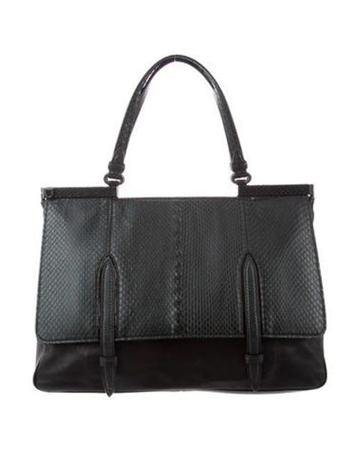 Bottega Veneta - Black Snakeskin   Leather Monaco Satchel - Lyst ... a4cf72ff57