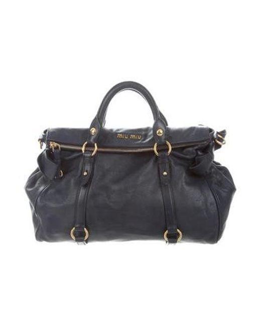 d216601531ab Miu Miu - Metallic Miu Leather Satchel Bag Navy - Lyst ...