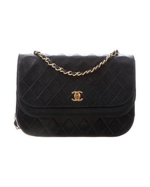 136ebb9868d4 Chanel - Metallic Vintage Quilted Double Flap Bag Black - Lyst ...