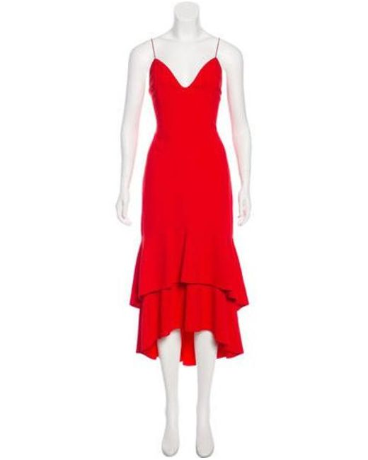 4bda5aa75dc Alice + Olivia - Red Ruffle-accented Midi Dress - Lyst ...