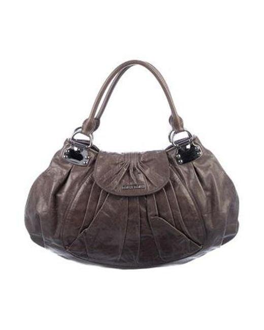70bf9e4c306a Miu Miu - Metallic Miu Leather Handle Bag Grey - Lyst ...