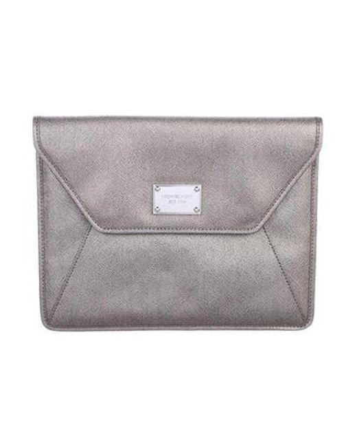03a8a6957685 Michael Kors - Metallic Leather Ipad Case Silver - Lyst ...