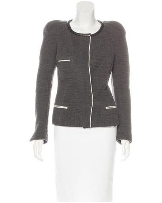 Isabel Marant - Gray Leather-trimmed Embossed Jacket Grey - Lyst