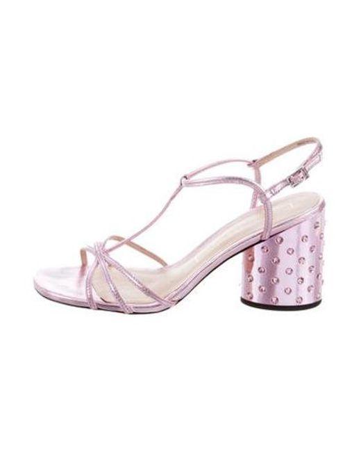 a6b60d4efde Marc Jacobs - Metallic Embellished Block Heel Sandals - Lyst ...