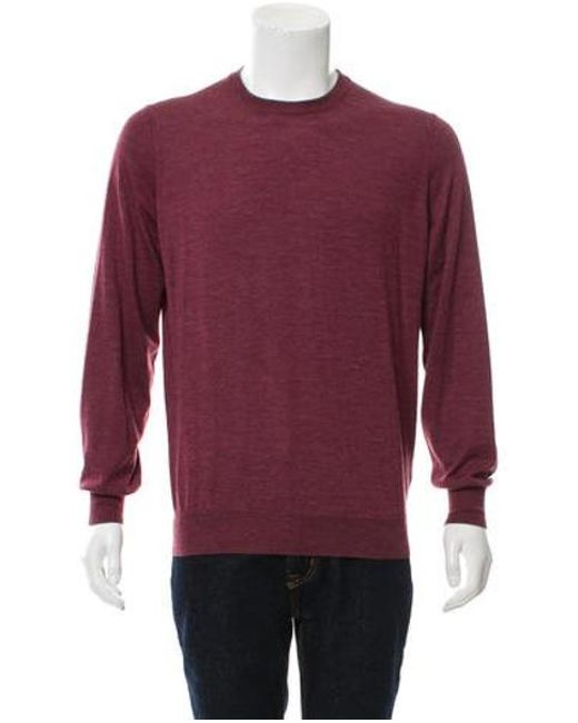 8e63308c17 Brunello Cucinelli - Purple Suede-accented Sweater for Men - Lyst ...