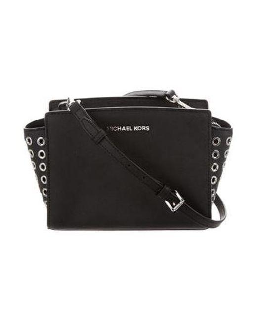 72bae0bdda05 MICHAEL Michael Kors - Metallic Michael Kors Small Leather Crossbody Bag  Black - Lyst ...