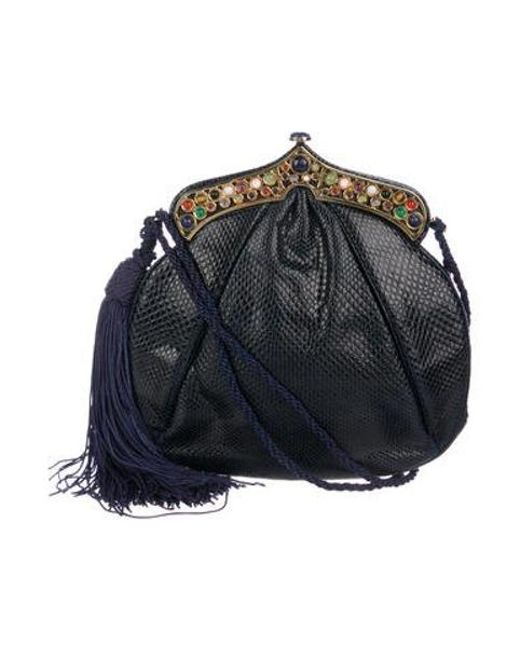 Judith Leiber Metallic Embellished Lizard Evening Bag Navy Lyst