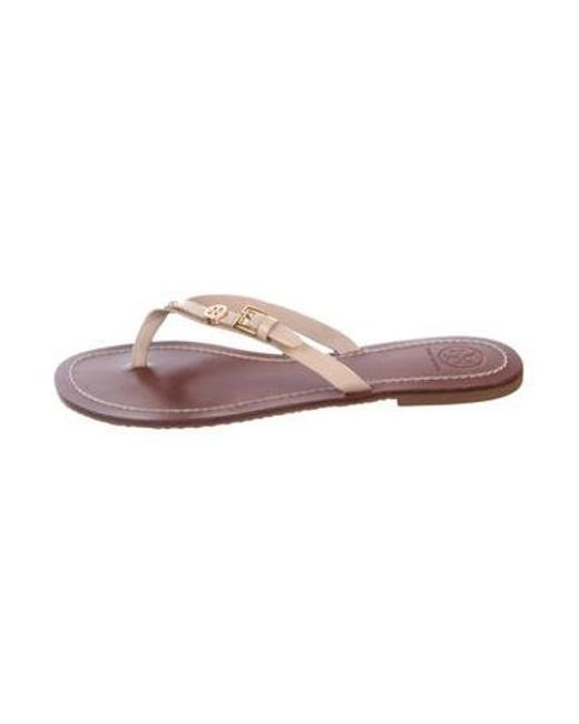 2be3523c891ef6 Tory Burch - Metallic Patent Leather Thong Sandals Champagne - Lyst ...