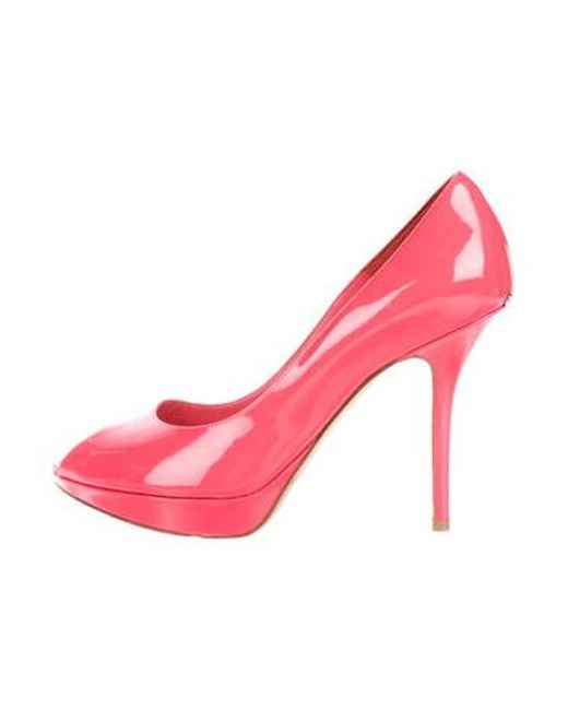 d8a3db0ae7d5 Dior - Pink Patent Leather Peep-toe Pumps Coral - Lyst ...