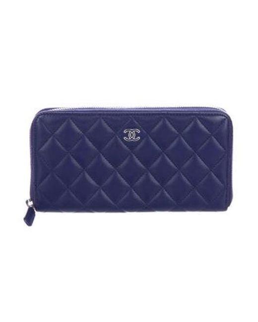 5c1171e72a4d96 Chanel - Metallic 2016 Quilted Lambskin Zip Wallet Purple - Lyst ...