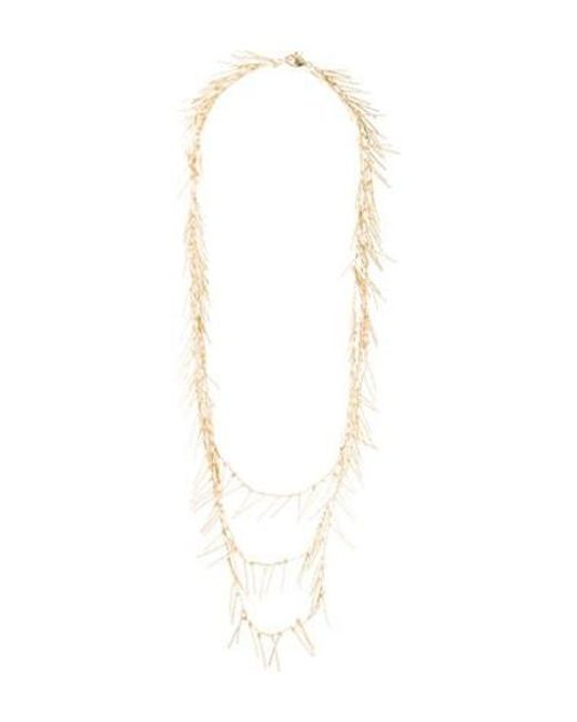 Fallon - Metallic Fringe Multistrand Necklace Gold - Lyst